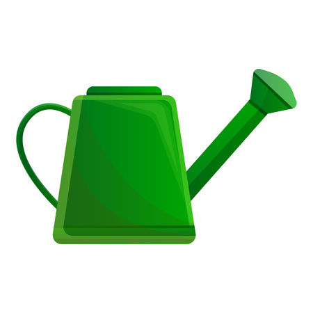 Green watering can icon. Cartoon of green watering can vector icon for web design isolated on white background