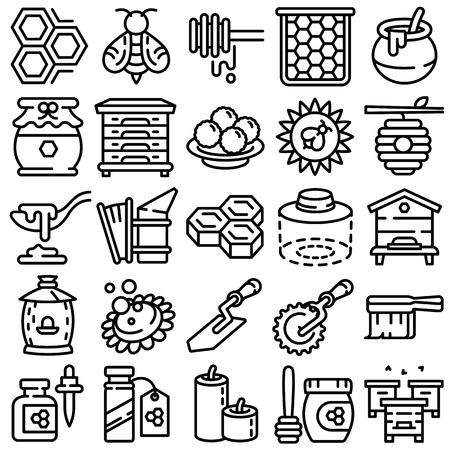 Propolis icons set. Outline set of propolis vector icons for web design isolated on white background Illustration