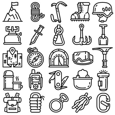 Bergsteigerausrüstungsikonen eingestellt. Umreißen Sie einen Satz von Vektorsymbolen für Bergsteigerausrüstung für das Webdesign, die auf weißem Hintergrund isoliert sind Vektorgrafik
