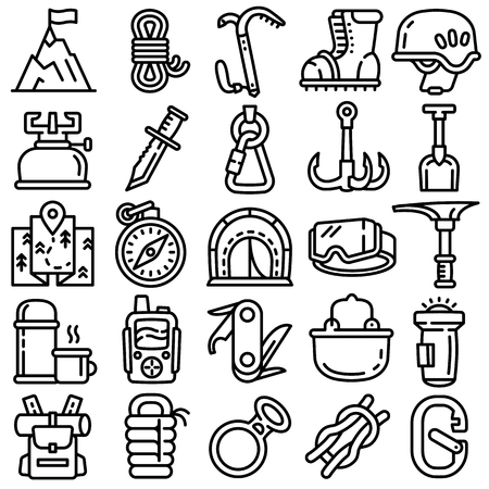 Mountaineering equipment icons set. Outline set of mountaineering equipment vector icons for web design isolated on white background