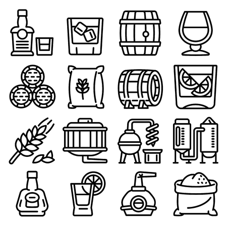 Whisky icons set. Outline set of whisky vector icons for web design isolated on white background Çizim