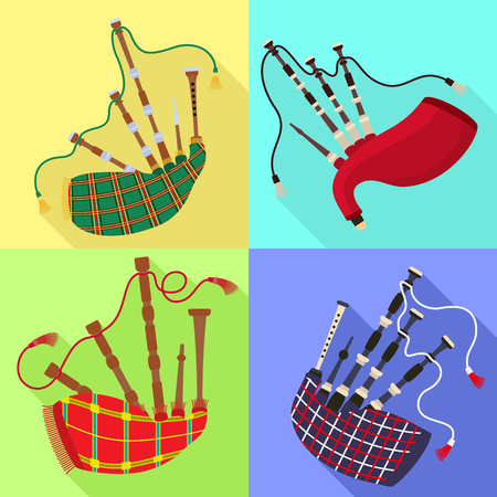Bagpipes icons set. Flat set of bagpipes vector icons for web design