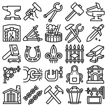Anvil icons set. Outline set of anvil vector icons for web design isolated on white background Illustration
