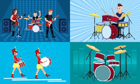 Drummer banner set. Flat illustration of drummer vector banner set for web design