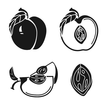 Peach icons set. Simple set of peach vector icons for web design on white background Ilustração