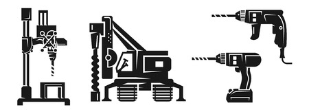 Drilling machine icons set. Simple set of drilling machine vector icons for web design on white background