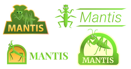 Mantis logo set. Cartoon set of mantis vector logo for web design Illustration