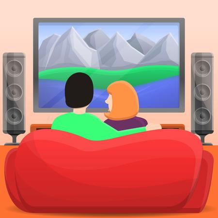 Family home movie concept background. Cartoon illustration of family home movie vector concept background for web design