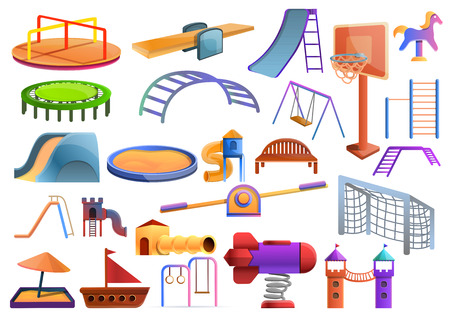 Kid playground icons set. Cartoon set of kid playground vector icons for web design