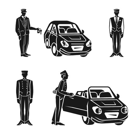 Valet icons set. Simple set of valet vector icons for web design on white background