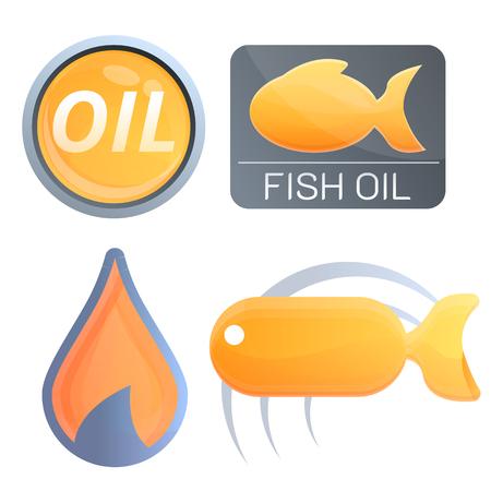 Ensemble de logos d'huile de poisson écologique. Ensemble de dessins animés de logo vectoriel d'huile de poisson écologique pour la conception de sites Web Logo