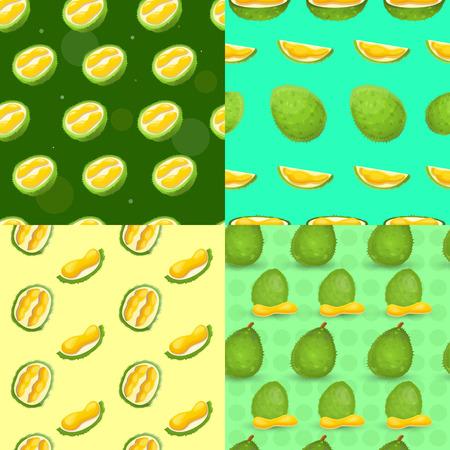 Fresh durian pattern set. Cartoon illustration of fresh durian vector pattern set for web design