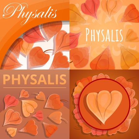 Physalis-Fruchtbanner-Set. Karikaturillustration von Physalis-Fruchtvektorfahnensatz für Webdesign