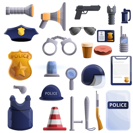 Police equipment icons set. Cartoon set of police equipment vector icons for web design