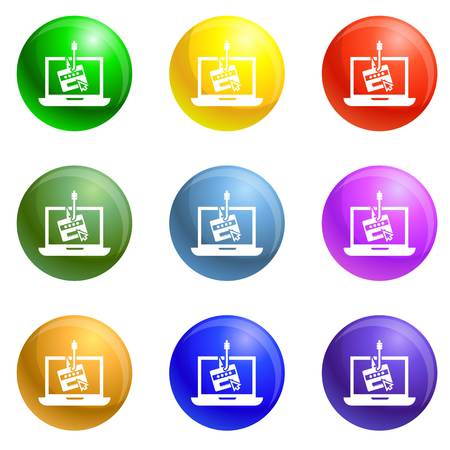 Laptop phishing icons vector 9 color set isolated on white background for any web design