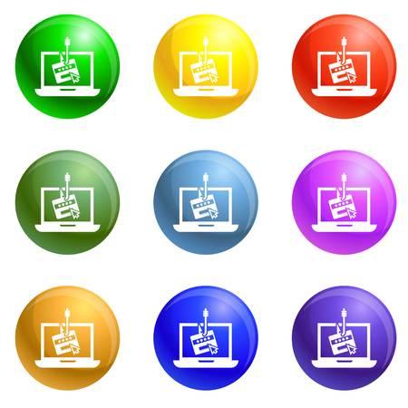 Laptop-Phishing-Symbole Vektor 9 Farbsatz isoliert auf weißem Hintergrund für jedes Webdesign