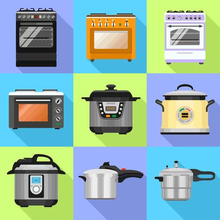 Cooker icon set. Flat set of cooker vector icons for web design Vektoros illusztráció