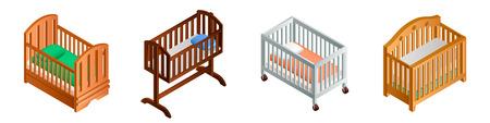 Crib icon set. Isometric set of crib vector icons for web design isolated on white background Illusztráció
