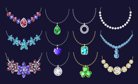 Necklace icon set. Realistic set of necklace vector icons for web design isolated on black background Illustration