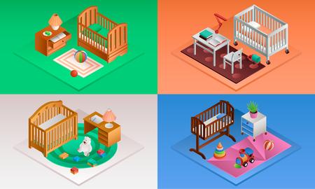 Baby crib banner set. Isometric set of baby crib vector banner for web design
