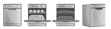 Dishwasher icon set. Cartoon set of dishwasher vector icons for web design Vector Illustratie
