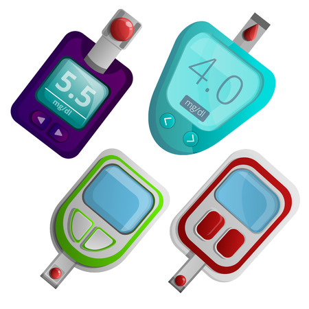 Glucose meter icon set. Cartoon set of glucose meter vector icons for web design