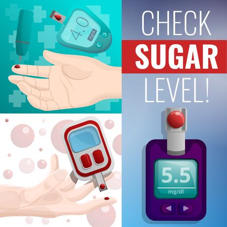 Sugar glucose meter banner set. Cartoon illustration of sugar glucose meter vector banner set for web design