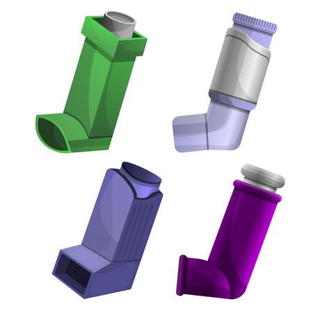 Inhaler icon set. Cartoon set of inhaler vector icons for web design
