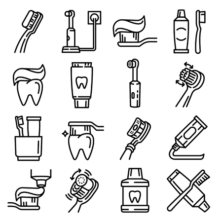 Toothbrush icon set. Outline set of toothbrush vector icons for web design isolated on white background Illusztráció