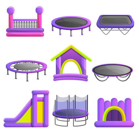 Trampoline icon set. Cartoon set of trampoline vector icons for web design