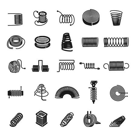 Coil spring icon set. Simple set of coil spring vector icons for web design on white background