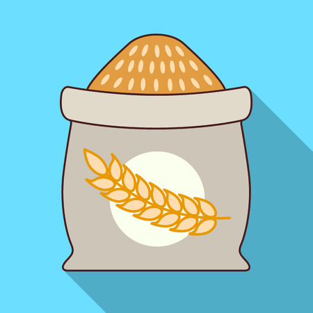 Sack of wheat icon. Flat illustration of sack of wheat vector icon for web design