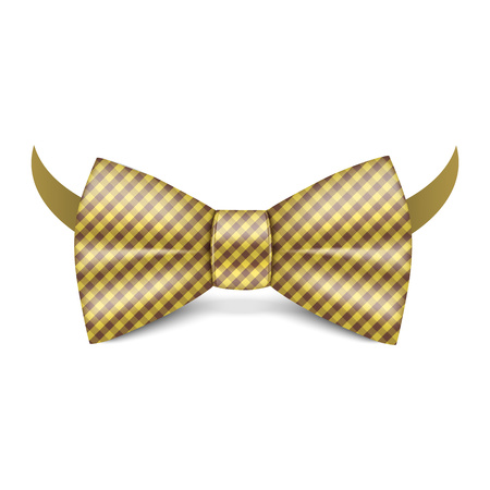 Gold striped bowtie icon. Realistic illustration of gold striped bowtie vector icon for web design isolated on white background