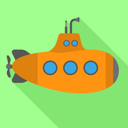 Orange submarine icon. Flat illustration of orange submarine vector icon for web design