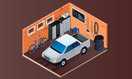 Brick garage interior banner. Isometric illustration of brick garage interior vector banner for web design Векторная Иллюстрация