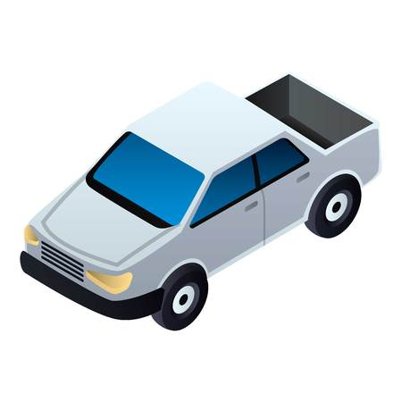Pickup car icon. Isometric of pickup car vector icon for web design isolated on white background