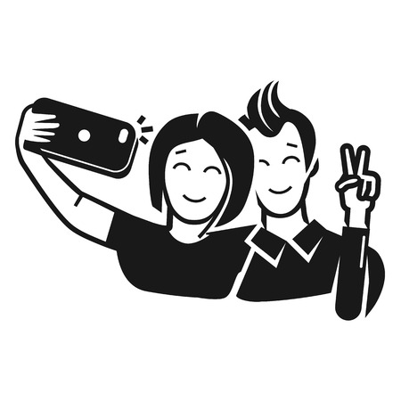Guy with a girl take a selfie icon. Simple illustration of guy with a girl take a selfie vector icon for web design isolated on white background Illustration
