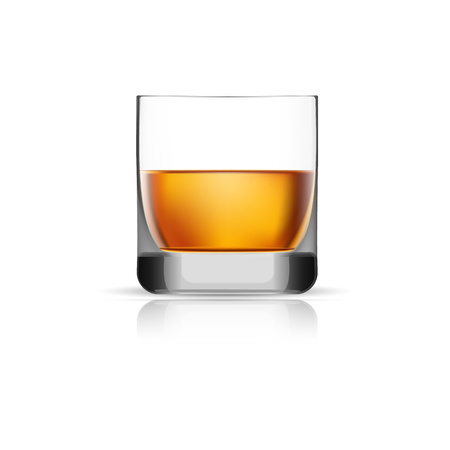 Whisky glass icon. Realistic illustration of whisky glass vector icon for web design isolated on white background Çizim