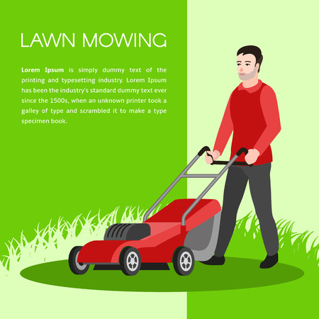 Lawn mowing concept background. Flat illustration of lawn mowing vector concept background for web design