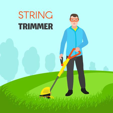 String trimmer concept background. Flat illustration of string trimmer vector concept background for web design