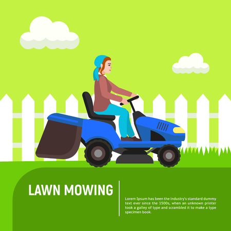Tractor lawn mowing concept background. Flat illustration of tractor lawn mowing vector concept background for web design Banque d'images - 118517793