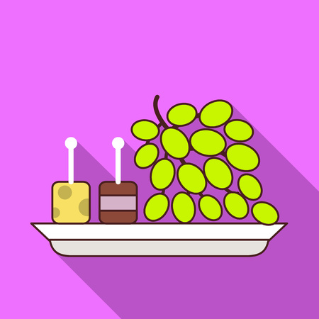 Grapes on plate icon. Flat illustration of grapes on plate vector icon for web design Illustration
