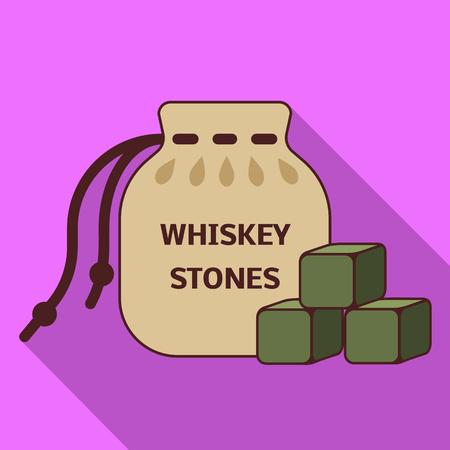 Whiskey stones icon. Flat illustration of whiskey stones vector icon for web design