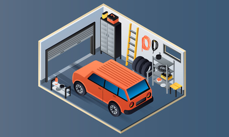 Garage interior banner. Isometric illustration of garage interior vector banner for web design Illustration