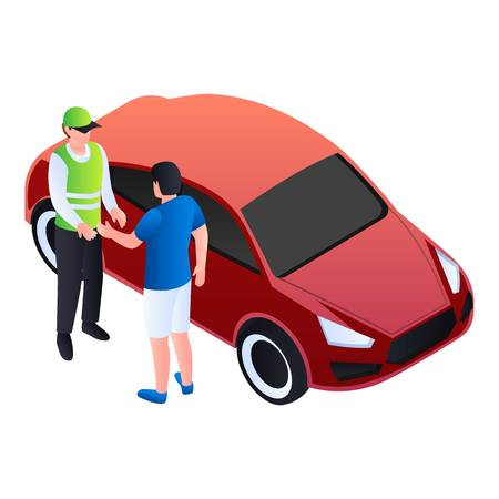 Valet man take a car icon. Isometric of valet man take a car vector icon for web design isolated on white background