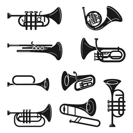 Trompete-Icons gesetzt. Einfacher Satz Trompetenvektorikonen für Webdesign auf weißem Hintergrund