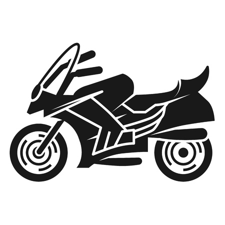 Sports bike left view icon. Simple illustration of sports bike left view vector icon for web design isolated on white background Stock Illustratie