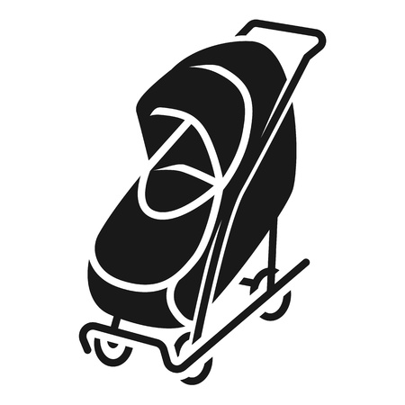Covered stroller icon. Simple illustration of covered stroller vector icon for web design isolated on white background
