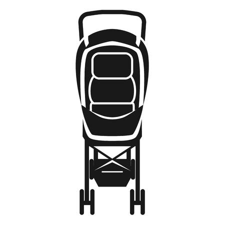 Icono de silla de cochecito de bebé. Ilustración simple del icono de vector de silla de cochecito de bebé para diseño web aislado sobre fondo blanco