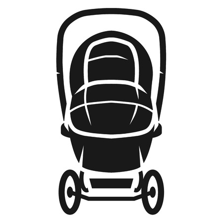 Icono de vista frontal del cochecito cubierto. Ilustración simple del icono de vector de vista frontal de cochecito cubierto para diseño web aislado sobre fondo blanco